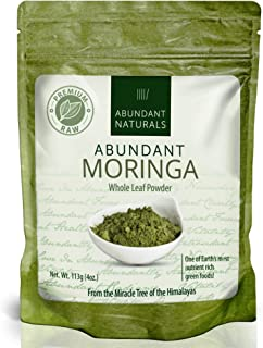 Abundant Moringa Powder, Organic, Fresh, Green and Raw(non-heat treated), Make Super Nutritious Green Smoothies, Abundant Vitamins & Minerals, Grown Organically in Native Fertile Soil of Western India