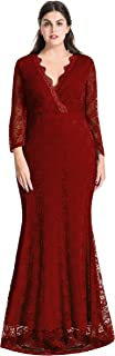 Women Plus Size Maxi Length Sleeves Lace Dress Event Gowns (2X, Burgundy)