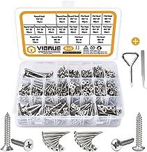 VIGRUE 640PCS M3/M4/M5/M6 Phillips Drive Wood Screw Assortment Kit, 304 Stainless Steel Self Tapping Screws Assortment Set...