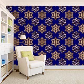 100yellow® Wallpaper | 3D Floral Design Printed Blue Color Peel and Stick Decor Wall Paper Home Decor (Self Adhesive) Deca...