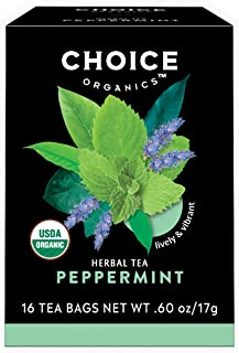 Choice Organics – Organic Peppermint Tea (6 Pack) – Organic Herbal Tea – 96 Tea Bags