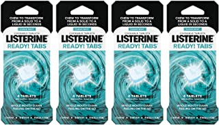 Listerine Ready! Tabs Chewable Tablets - Zero Alcohol - Sugar Free - Clean Mint - 8 Count Tablets Per Package - Pack of 4 Packages