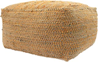 Christopher Knight Home Grace Large Square Casual Pouf, Boho, Orange and Beige Hemp and Cotton