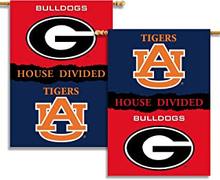 NCAA Georgia - Auburn 2-Sided 28-by-40 inch House Banner with Pole Sleeve- Rivalry House Divided