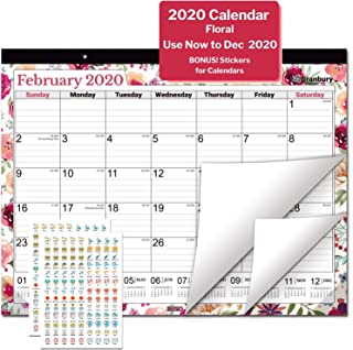 Large Desk Calendar 2020, 17.75 x 13.75 (Floral), 19 Months Use from June 2019 to December 2020, Deskpad Calendar 2019-2020, with Stickers for Calendars, for School, Home, Office