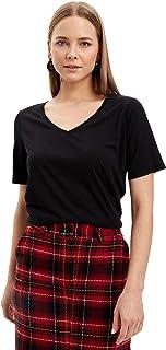 DeFacto V Yaka Basic Kısa Kollu T-Shirt Tişört Kadın