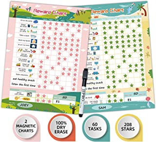 Dry Erase Bahavior Chart for Kid at Home, Magnetic Chore Chart for Kid, Reusable Reward Chart for Kids Behavior. Includes ...