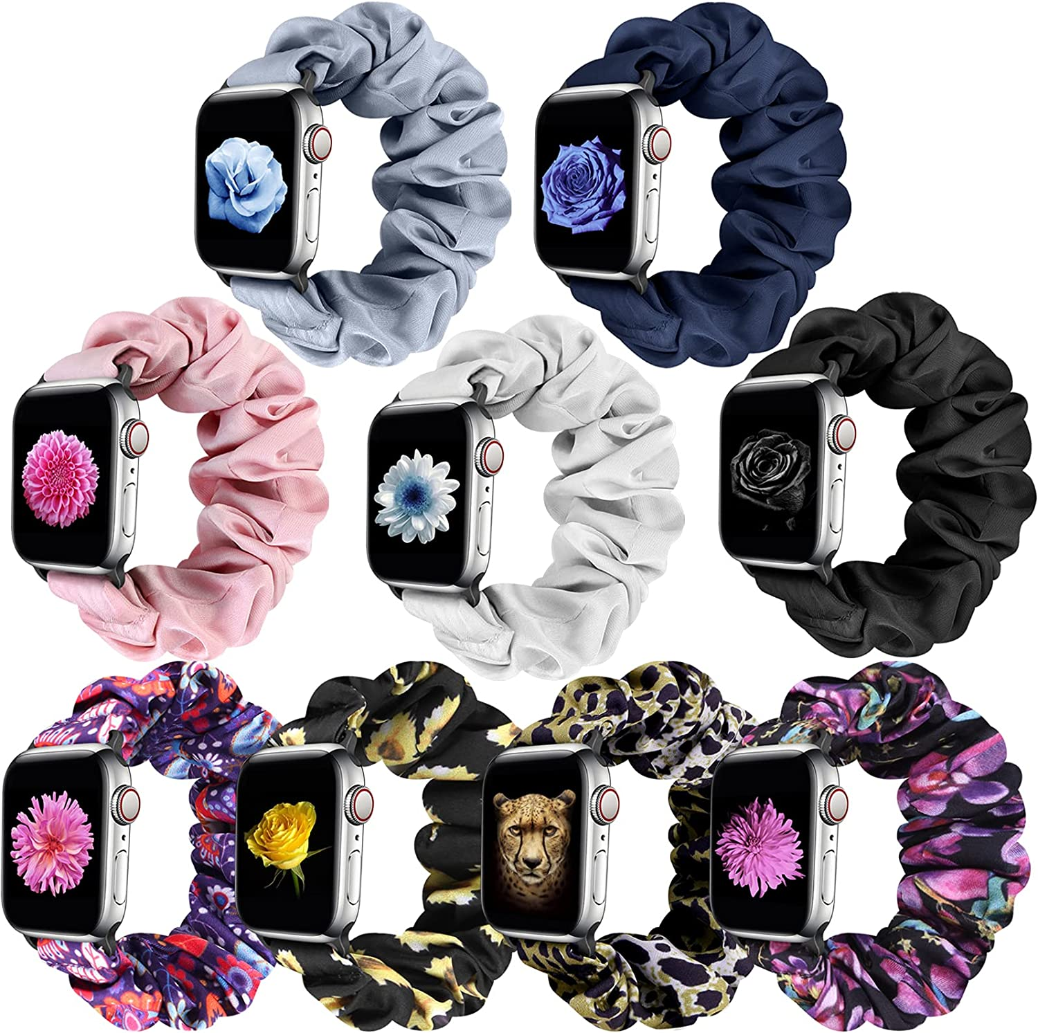 XFYELE Scrunchie Solo Loop Watch Bands Compatible with Apple Watch 38mm 40mm 41mm 42mm 44mm 45mm, Elastic Soft Pattern Printed Fabric Replacement Wristbands Bracelet Strap Women Girl for iWatch Series 7/6/5/4/3/2/1/SE