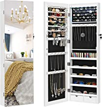 """SONGMICS 47.2"""" H Full Screen Mirrored Jewelry Cabinet Armoire, 6 LEDs Jewelry Organizer Wall Hanging/Door Mounted, Larger Capacity, Pure White UJJC99WT"""