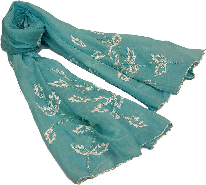 Silk Cotton Hand Embroidered Scarf