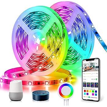 Dreamcolor Striscia LED Musicale Alexa, TASMOR Striscia 10M Wifi Autoadesiva Luminosa, Strisce LED Compatibile con Alexa Echo e Google Home, Nastri Led Illuminazione Flessibile per Interni/Esternisa…