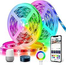 DreamColor LED-strip 10m, TASMOR LED-strip RGB+IC, LED-strip compatibel met Alexa Google Home APP-bediening, zelfklevende ...