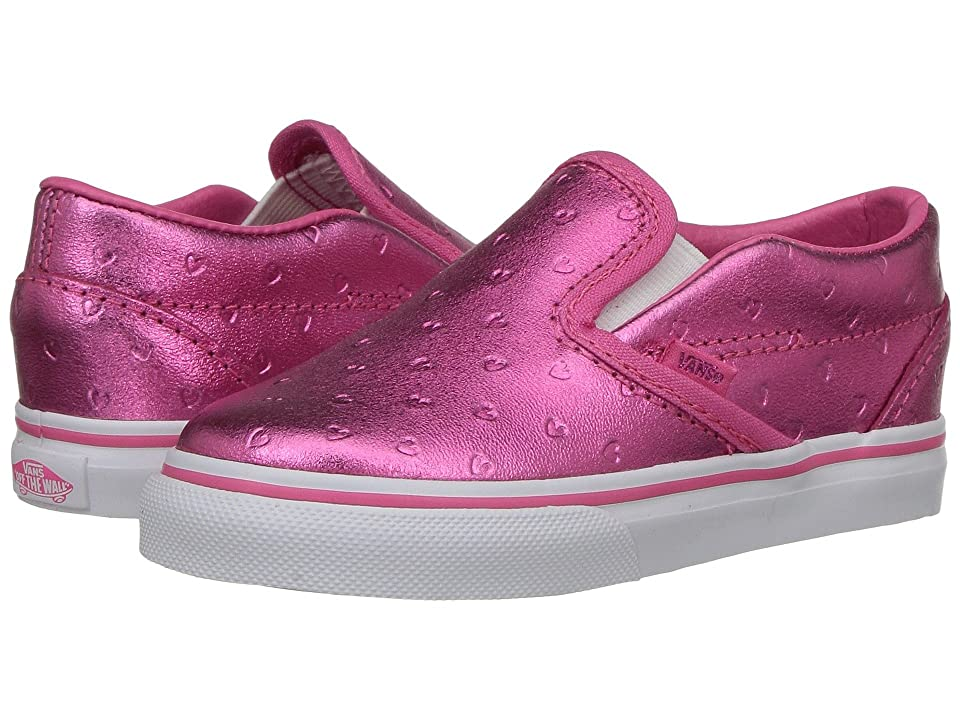 Vans Kids Classic Slip-On (Toddler) ((Metallic Hearts) Emboss/Hot Pink) Girls Shoes