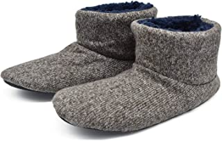 Knit Rock Wool Warm Men Indoor Pull on Cozy Memory Foam Slipper Boots Soft Rubber Sole