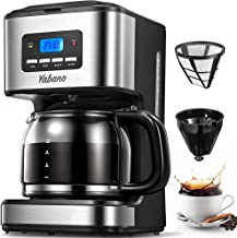Yabano Filterkaffemaskin med isolerad kanna 1,8 l, timerfunktion, anti-droppsystem, rostfritt stål, 900 W