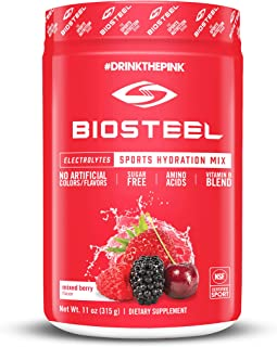 BioSteel Hydration Mix - Sugar Free, Essential Electrolyte Sports Drink Powder - Mixed Berry - 45 Servings