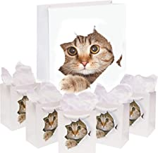 5-Pack Cat Gift Bags | Paper Bag for Birthday and Holiday Gifts, Party Favors | Kitten Themed Goodie Bags with White Rope ...