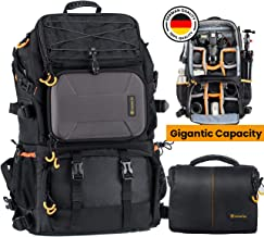 """TARION Pro 2 Bags in 1 Camera Backpack Large with 15.6"""" Laptop Compartment Waterproof Rain Cover Extra Large Travel Hiking Camera Backpack DSLR Bag"""