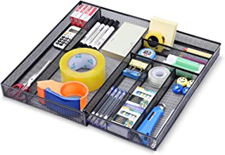 $21 » Expandable Office Desk Organizer, 7 compartments Mesh Desk Drawer Organizer Desk Organizer tray, Metal Office Supplies Acc...