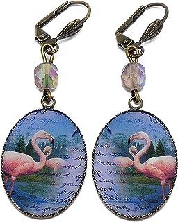 Retro orecchini resina esotica fenicotteri rosa blu ottone bronzo perle personalizzato regali di Natale cerimonia di nozze...