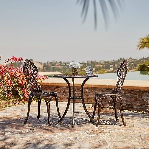 discount BELLEZE 3 Piece Bistro Outdoor Patio Set Leaf Design Weather Resistant Round Table 2 Chairs online sale outlet sale Bronze Cast Garden Furniture outlet online sale