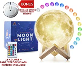 3D Moon Lamp (Large, 5.9in) with Stand and Hanging Kit! Moon Night Light with 16 LED Colors! Ambient Lighting, Dimmable Moon Ball - Cool Lamps and Lights for Kids, USB Rechargeable Moon Globe Decor