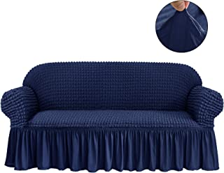 CHUN YI 1-Piece All-Purpose Universal Easy Fitted Loveseat Sofa Couch Cover Stretchable High Elasticity Durable Furniture Protector 2 Seats Love Seat Sofa Slipcover with Skirt (Loveseat, Navy)