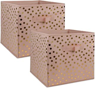 DII Non-Woven Fabric Storage Bins with Removable Bottom, Large-13 x 13 x 13, Polka Dots-Pink / Gold, 2 Piece