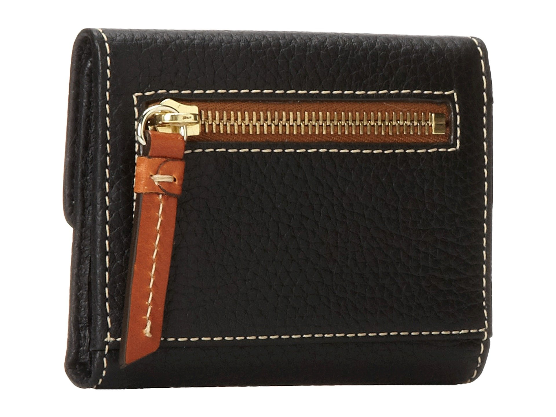 W Black Slgs Bourke Dooney Leather Trim Small New Pebble Card Credit amp; Wallet Flap Tan wTPxqR7