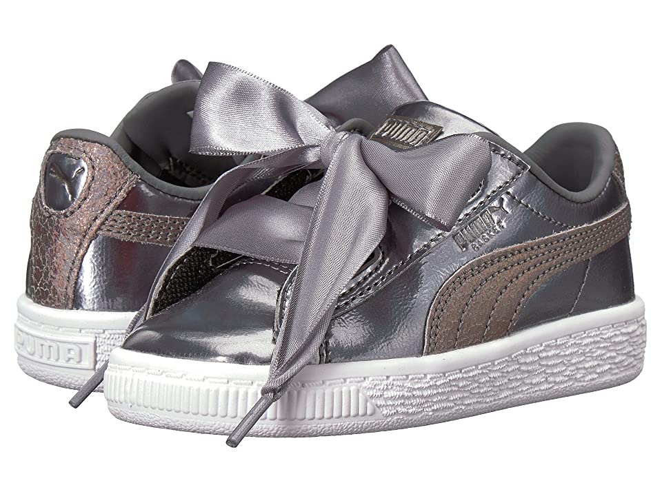 Puma Kids Basket Heart Lunar Lux INF (Toddler) (Smoked Pearl) Girls Shoes, Gray