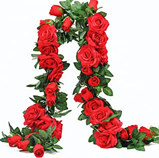 PARTY JOY 6.5Ft Artificial Rose Vine Silk Flower Garland Hanging Baskets Plants Home Outdoor Wedding Arch Garden Wall Decor,Pack of 2 (Red)