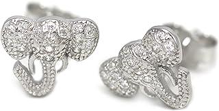 (Nickel Free) 925 Sterling Silver Crystal CZ Elephant Stud Earrings 20176