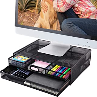 Sponsored Ad - Monitor Stand Riser with Drawer- Metal Mesh Desk Organizer with Dual Pull Out Storage Drawer for Computer, ...