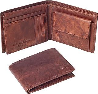 Linda Chiarelli portafoglio uomo vera pelle made in Italy blocco RFID grande portafogli con patella porta tessere carte di...