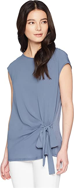 Petite Sleeveless Mix Media Tie Front Blouse