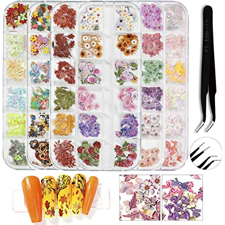 Nail Dried Flowers 3D Nail Art Supplies Set Sunflower Butterfly Letter Rose Nail Stickers Decals Decoration Tips Manicure Decor with Tweezers DIY Crafts Acrylic Manicure Face Body Nails Decorations 6 Boxes