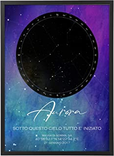 Mappa Stellare Galassia Personalizzata con Cornice - Quadro varie dimensioni vari colori Made in Italy Star Poster Mod.008