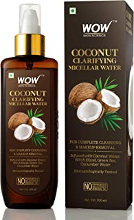 WOW Skin Science Coconut Clarifying Micellar Water for Complete Cleansing & Makeup Removal - For All Skin Types - No Parabens, Silicones & Mineral Oil -200mL