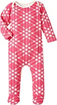 product image for Winter Water Factory Baby Girls' Triangle Plaid Footed Romper - Magenta - 3 Months