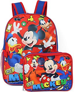 """Group Ruz Mickey Mouse 16"""" Backpack W/ Detachable Lunch Box"""
