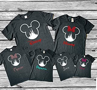 Dark Heather gray Family Vacation Matching Shirts, Glitter Bow custom Personalized Option available, Mouse Ears and Castle Custom squad Shirts