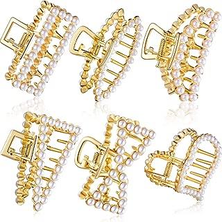 6 Pieces Artificial Pearl Hair Claw Clips Pearl Jaw Clips Non Slip Pearl Hair Clip Clamps for Women Hair Accessories
