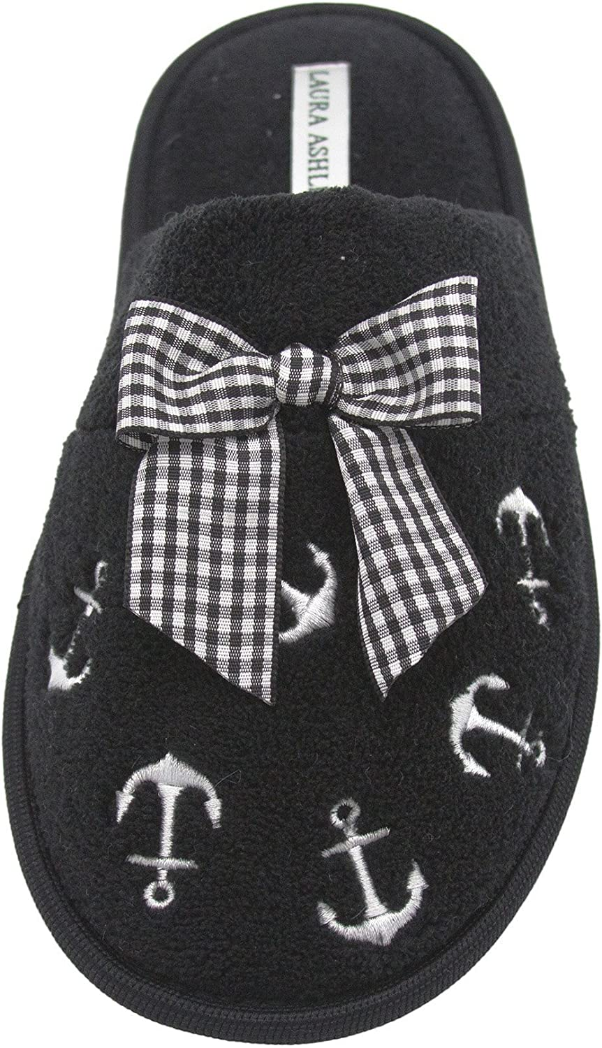 Laura Ashley Ladies Embroidered Soft Terry Anchor Scuff Slipper (See More colors & Sizes)