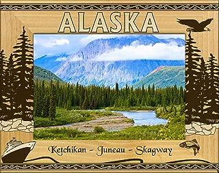 Alaska-Ketchikan-Juneau-Skagway Laser Engraved Wood Picture Frame (5 x 7)
