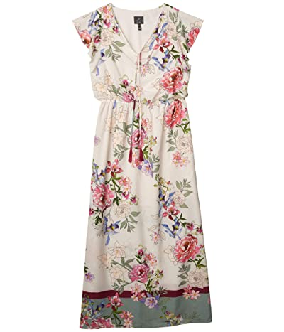 Adrianna Papell Floral Border Print Maxi Dress (Ivory Multi) Women
