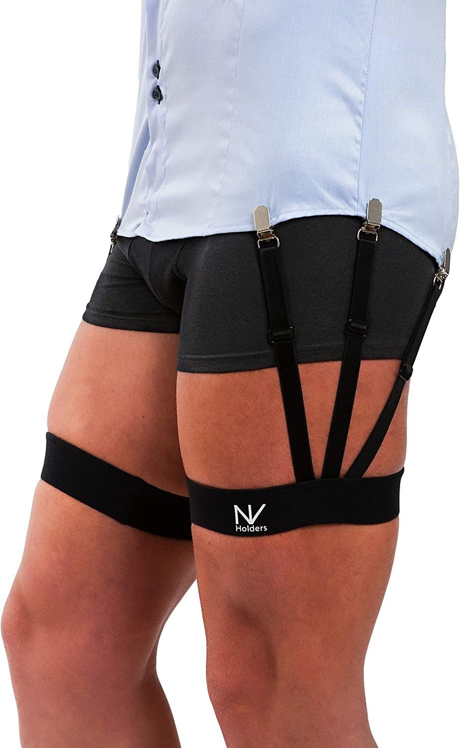 Improved NV HOLDERS 2.0, with improved clasps; premium shirt stays, shirt holders, shirt garters, shirt tuckers for men