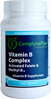 Vitamin B Complex MethylFolate - Methyl B12 - L-5-MTHF - Sustained Slow Release for Energy, Immune System Support, Stress - 100 Tablets
