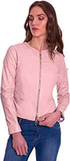 D'Arienzo Giacca in Pelle Donna Rosa Primaverile Vera Pelle Giacca Made in Italy Clear