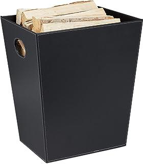 Relaxdays Panier à bois, range-buches en similicuir, rangement & transport, porte-revues avec poignées, cheminée, noir