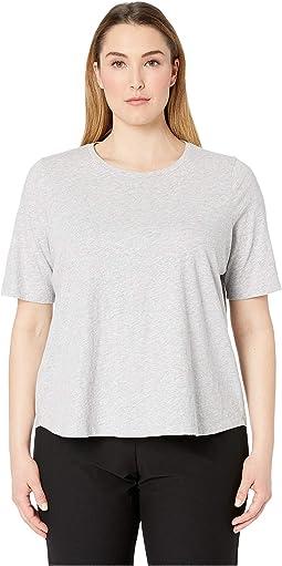 Plus Size Slubby Jersey Melange Round Neck Elbow Sleeve Top